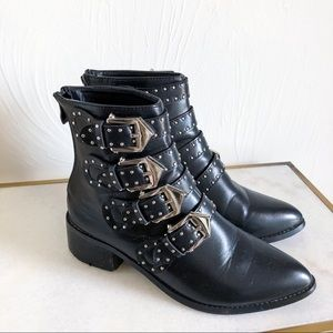 Shoes - Black Silver Buckle studded Booties